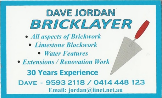 Dave Jordan Bricklaying Services.