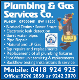 Plumbing and Gas Services Co