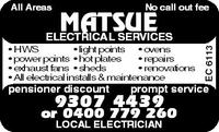 MATSUE ELECTRICAL SERVICES Company Logo by MATSUE ELECTRICAL SERVICES in Heathridge WA