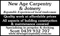 NEW AGE CARPENTRY & JOINERY Company Logo by Scott Broadhurst in Gooseberry Hill WA
