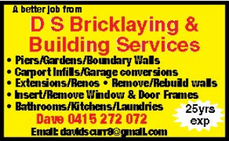 D.S  BRICKLAYING AND BUILDING SERVICES Company Logo by David Scurr in Quinns Rocks WA